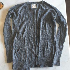 Aerie grey knit boucle cardigan sweater buttons